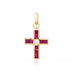 Colgante cruz rubíes